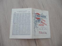 Calendrier 1895 Pub 2 Volets Le Monde Moderne Revue Illustrée - Kalenders