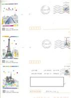 Lot 5 Pap Monument Paris Cachet Flamme à Voir - Entiers Postaux