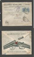 E-ALFONSO XIII. 1913 (28 Nov) Barcelona - Alemania, Speyer. Sobre Ilustrado. Escopeta Caza Con Franqueo Pagado. . Escaso - Spain
