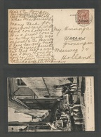 MARRUECOS - British. 1934 (9 Abril) Tanger - Netherlands, Hazen. Fkd Ppc. 1 1/2d Brown Ovptd, Cds. Fine. - Morocco (1956-...)