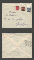 MARRUECOS - British. 1936 (29 April) BPO. Ovptd Issue. Casablanca - Oran, Algeria. Transited Reverse Via Gibraltar (30 A - Morocco (1956-...)