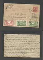 MARRUECOS - French. 1923 (11 Sept) Rabat - Netherlands, Amsterdam. 5c Ovptd 10c Stat Card + 3 Adtls. Fine + Scarce Usage - Morocco (1956-...)
