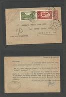 MARRUECOS - French. 1923 (3 July) Rabat - USA, Chicago, Ill 10c On 10c Red Stationary Card + Adtls, Cds. Fine Scarce Tra - Morocco (1956-...)