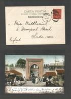 MARRUECOS - British. 1904 (17 Dec) BPO. Tangier - UK, London. Color Ppc, Ovptd Issue Fkd. 10c. Tied Ag26 + Cds. Fine. - Morocco (1956-...)