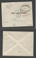 BOLIVIA. C. 1923-8. La Paz - Germany, Lubeck. Cash Paid Envelope (falta De Sellos) + Taxed + German Red P. Due Cachet. F - Bolivia