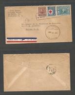 HONDURAS. 1943 (23 June) La Ceiba - Belize, British Honduras (7 July) Air Multifkd Env Incl Red Cross Issue. Scarce Dest - Honduras