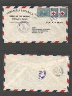 HONDURAS. 1943 (31 July) Puerto Cortes - Belize, British Honduras (6 Aug) Air Multifkd Env Incl Double Red Cross 1c Stam - Honduras