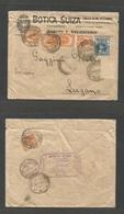 URUGUAY - Stationery. 1910 (19 Ene) Paysandu - Switzerland, Lugano (11 Feb) Botica Suiza Ilustrated Envelope Multifkd On - Uruguay