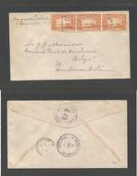 HONDURAS. 1942 (20 June) Esquias - Belize, British Honduras (2 July) Multifkd Env, Transited On Reverse, 15c Rate. Scarc - Honduras