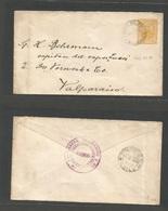 PERU. 1896 (29 Apr) Mollendo - Valparaiso, Chile (11 May) 10c Yellow Stat Envelope. VF + Used + Comercial. - Peru
