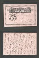 ECUADOR. 1887 (17 Dec) Guayaquil - Germany, Darmstadt (15 Jan 88) 3c Black / Pinkish Stat Card. Scarce Used. - Ecuador