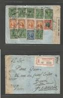 ECUADOR. 1916 (8 Jan) Guayaquil - France, Tarn. Registered Reverse Multifkd Censored Envelope. Includes 1 Centavo Some S - Ecuador