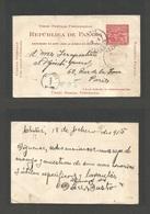 "PANAMA. 1905 (18 Febr) Chitré - France, Paris (19 March) 2c Red Stationary Card + ""T / Panama"" + Panama Transit (27 Febr - Panama"