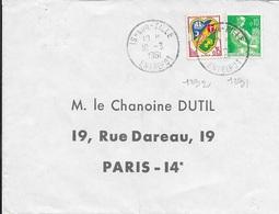 COTE D'OR 21  -   IS SUR TILLE  ENTREPOT    - CACHET RECETTE R  A7  - 1961- - Marcophilie (Lettres)
