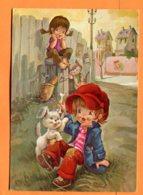 SPR545, Illustrateur I. Vernet, Enfants, Casquette Rouge, Chat, Chien, Cat, Katz, Fantaisie, GF, Circulée Sous Enveloppe - Phantasie