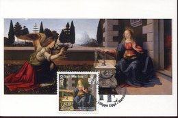44986 San Marino,maximum 2019 Painting Of Leonardo Da Vinci, Annunciazione, Annunciation, Verkundigung - Sculpture