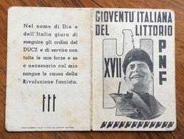 FASCISMO  TESSERA G.I.L ANNO XVII    ..LA GIOVANE FASCISTA.. - Documenti Storici
