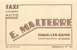 """23 - EVAUX LES BAINS - TAXI """"E. MALTERRE"""" - CARTE COMMERCIALE ANCIENNE (7 X 11 Cm) - Evaux Les Bains"""