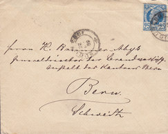 Romania BUCURESTI 1889 Cover Brief BERN (Arr.) Schweiz 25 Bani König Karl I. Stamp Single Franking - 1881-1918: Charles I