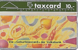 PTT: K-90/27A 010G Schweizerische Volksbank - Geburtstaxcard. Mint - Schweiz