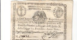 10 Paoli Repubblica Romana Anno 7 Retro Cerchio Biglietto Naturla  LOTTO 1822 - Unclassified