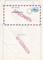 FRANCE - AEROGRAMME  SPECIMEN ROUGE CONCORDE 4.20 POUR CENTRE REGIONAL FORMATION  POSTES-CACHET  STRASBOURG 67 / TBS - Aérogrammes