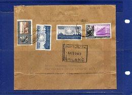 ##(DAN196)-Italia 1956-Busta Raccomandata Da Milano Per Campomorone (Genova) Affrancata Con Commemorativi - 1946-60: Storia Postale