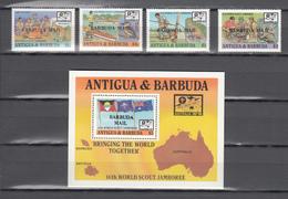Barbuda Mail 1988,4V+Block,ovpt BARBUDA MAIL,scouting,padvinderij,pfadfinder,scoutisme,birds,vogels,,MNH/Postfris(L3469) - Ongebruikt