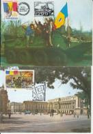 ROMANIAN 1989 REVOLUTION ANNIVERSARY, ARMORED VEHICLE, CM, MAXICARD, CARTES MAXIMUM, 1-OBLIT FDC, 2X, 1990, ROMANIA - Maximumkaarten