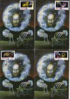 ASTROLOGY, ZODIAC SIGNS, LIONS INTERNATIONAL ORGANIZATION, CM, MAXICARD, CARTES MAXIMUM, OBLIT FDC, 10X, 2002, ROMANIA - Astrologie