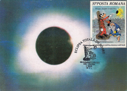 ASTRONOMY, TOTAL SOLAR ECLIPSE, DISNEY CARTOONS CHARACTERS STAMP, CM, MAXICARD, CARTES MAXIMUM, 1999, ROMANIA - Astronomia