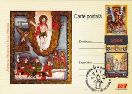 CHRISTIANITY, JESUS' RESURRECTION, EASTER, PC STATIONERY, ENTIER POSTAL, OBLIT FDC, 2009, ROMANIA - Cristianesimo