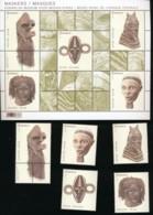 Feuillet + 5 Timbres 1 World - Masque Africain - Facial €16.20 - Nuovi