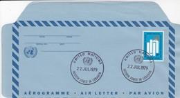 UNITED NATIONS - AEROGRAMME 13c - CACHET INTERIM FORCE IN LEBANON 22 JUL 1979  /3 - New-York - Siège De L'ONU