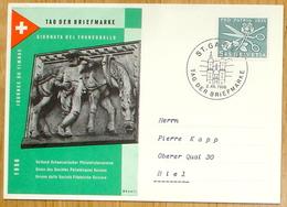 """Schweiz Suisse 1956: BPK CPI """"Post-Pferd"""" Zu 76 Mi 627 Yv 576 O ST.GALLEN 2.XII.1956 TAG DER BRIEFMARKE (Zu CHF 15.00) - Journée Du Timbre"""