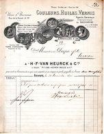1 Factuur Antwerpen Anvers Couleurs Huile Vernis Fabriquant Unique De Saccharine H.F.Van Heurck & C° -Balus C1890 - Belgium