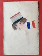 1914 - CARTE PEINT MAIN - HANDGESCHILDERD - FEMME FRANCAISE - DRAPEAU FRANCAIS - VLAG FRANKRIJK - Patriotiques