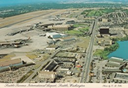 Seattle-Tacoma International Airport Aerial View, Planes On Tarmac, C1970s Vintage Postcard - Aerodromes