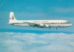 Schreiner Airways DC-7c In Flight, Propeller Plane, C1960s Vintage Postcard - 1946-....: Modern Era