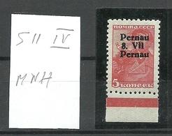 "ESTONIA Estland 1941 Michel 5 II Type IV Variety Pernau Pärnu ERROR Double ""Pernau"" In OPT MNH Signed - Estonie"