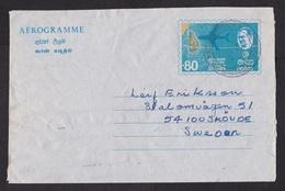 Sri Lanka: Stationery Aerogramme To Sweden, 1975, Map, Airplane, Air Letter (damaged) - Sri Lanka (Ceylon) (1948-...)
