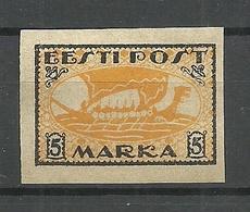 ESTLAND Estonia 1920 Wiking Ship Michel 13 Y (gray Paper) (*) - Estonie