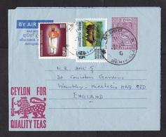 Sri Lanka: Stationery Aerogramme To UK, 1971, 2 Extra Stamps, Buffalo, Slogan Quality Tea, Air Letter (traces Of Use) - Sri Lanka (Ceylon) (1948-...)