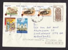 Sri Lanka: Stationery Cover To Netherlands, 5 Extra Stamps, Turtle, Deer, Animal, Religion, Heritage (traces Of Use) - Sri Lanka (Ceylon) (1948-...)