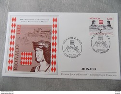 FDC MONACO 2012 : 500 Ans De L'Indépendance (Timbre De 0.55 Euro) - FDC