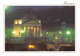 """3744"""" TORINO-CHIESA DELLA GRAN MADRE DI DIO-NOTTURNO """"  CART. POST. OR. NON SPED. - Churches"""