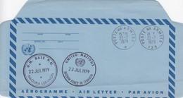 UNITED NATIONS - AEROGRAMME  - CACHET INTERIM FORCE IN LEBANON 22 JUL 1979  - POSTE AUX ARMEES 22.7.1979 /3 - New-York - Siège De L'ONU
