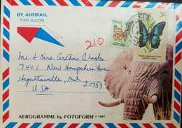 L) 1983 KENYA, BUTTERFLIES, NATURE, FAUNA, ELEPHANT, AIRMAIL , AEROGRAMME - Kenya (1963-...)