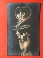 1918 - SURREALISME - FEMME ET HOMME AMOUREUX DANS LA FUMEE D'UNE PIPE - VERLIEFDEN IN DE ROOK VAN EEN PIJP - Couples