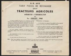 RENAULT - TRACTEURS AGRICOLES - Additif Correctif De Juillet 1961 - TARIF DES PIECES DE RECHANGE - 18 Pages - 5 Photos - Tools